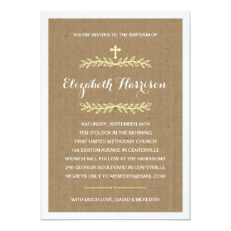 "Rustic Kraft Paper | Baptism/Christening 5"" X 7"" Invitation Card"