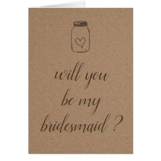 Rustic Kraft Paper | Be My Bridesmaid Script Card