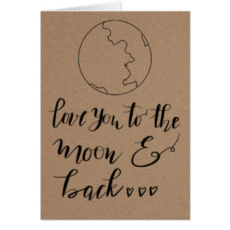 Rustic Kraft Paper Cute Moon Valentines Day Card