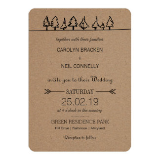 Rustic Kraft Paper Forest Tree Wedding Card
