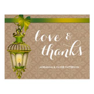 Rustic Kraft Paper Green Lantern Love & Thanks Postcard