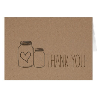Rustic Kraft Paper Heart Mason Jars Thank You Card