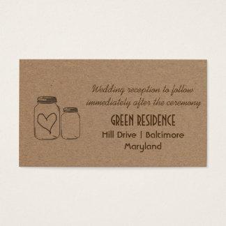 Rustic Kraft Paper Mason Jar Heart Wedding Insert