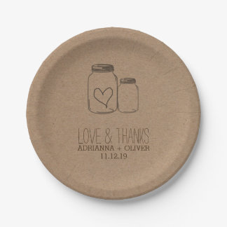 Rustic Kraft Paper Mason Jars Heart Wedding Paper Plate