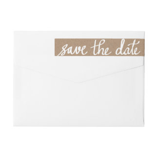 Rustic Kraft Paper Save The Date White Script Wrap Around Label