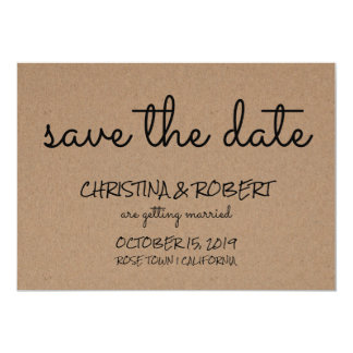 Rustic Kraft Paper Simple Save The Date Typography Card