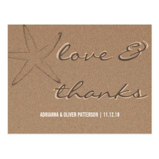 Rustic Kraft Paper Starfish Wedding Thanks Postcard