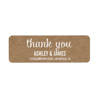 RUSTIC KRAFT PAPER WEDDING THANK YOU RETURN LABELS