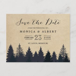 Rustic Kraft Pine Trees Forest Save the Date Announcement Postcard