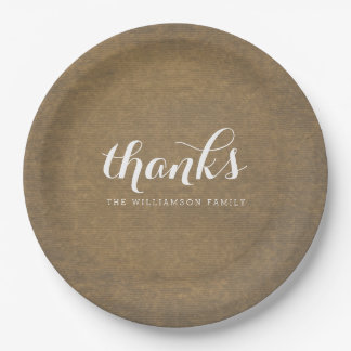 Rustic Kraft Print - Thanks Thanksgiving Family 9 Inch Paper Plate