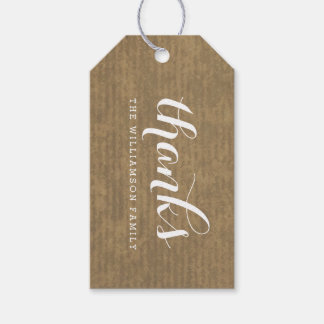 Rustic Kraft Print - Thanks Thanksgiving Family Gift Tags