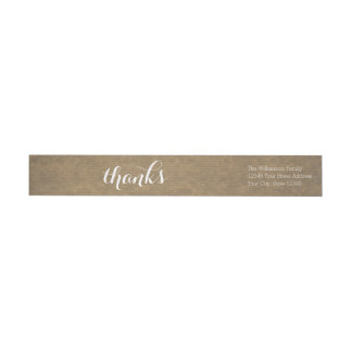 Rustic Kraft Print - Thanks Thanksgiving Family Wraparound Return Address Label