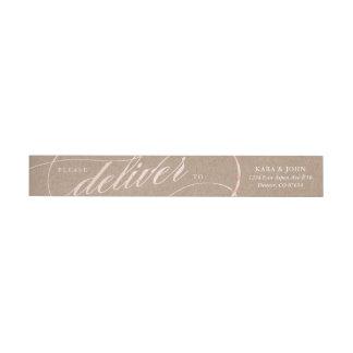 Rustic Kraft & Rose Gold Script Address Labels