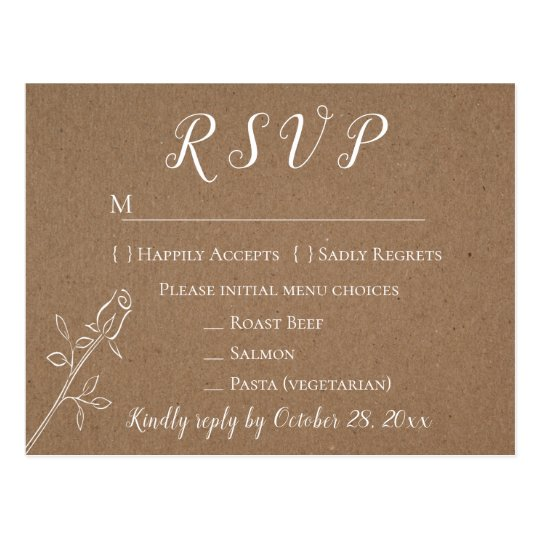 Rustic Kraft RSVP Rose Flower Country Wedding Postcard