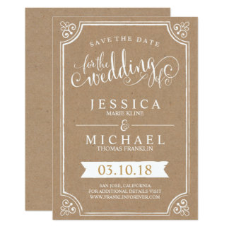 Rustic Kraft Save the Date Card