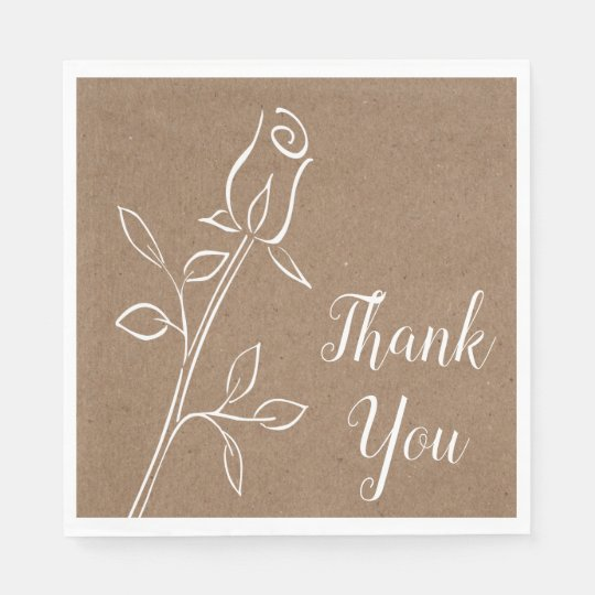 Rustic Kraft Thank You Country Rose Flower Wedding Disposable Napkins