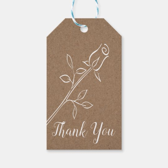Rustic Kraft Thank You Country Rose Flower Wedding Gift Tags