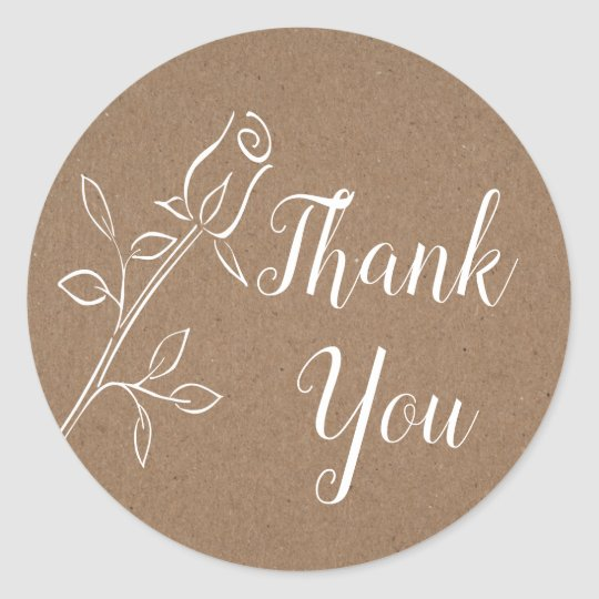 Rustic Kraft Thank You Rose, Country Wedding Party Classic Round Sticker
