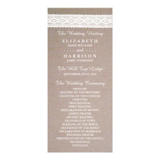 Rustic Kraft & Vintage White Lace Wedding Program