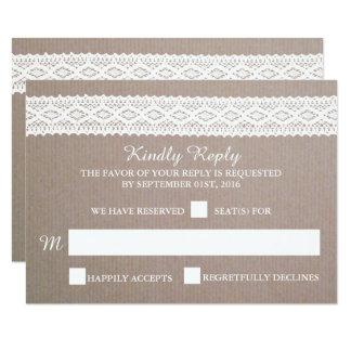 "Rustic Kraft & Vintage White Lace Wedding RSVP 3.5"" X 5"" Invitation Card"