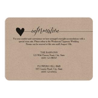 "Rustic Kraft Wedding enclosure, heart calligraphy 4.5"" X 6.25"" Invitation Card"