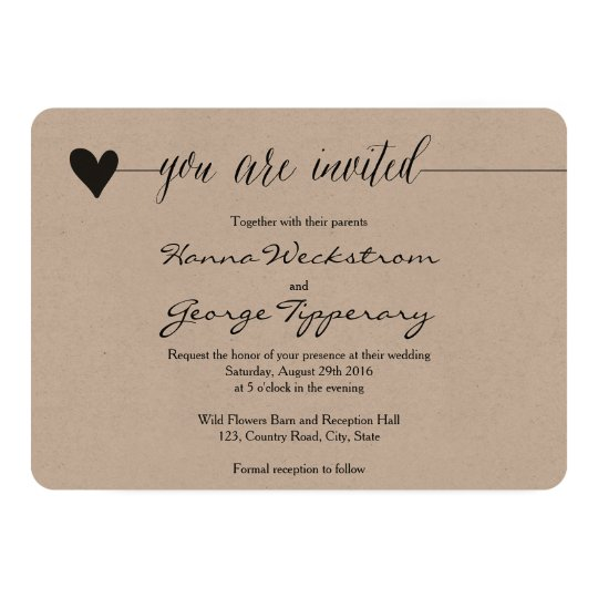 Rustic Kraft Wedding invite, heart calligraphy Card
