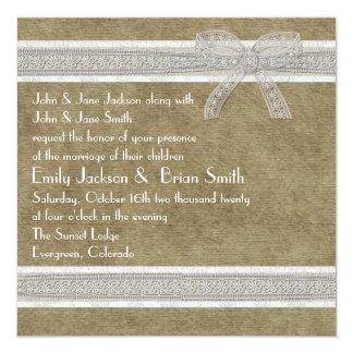 Rustic lace and burlap custom wedding invites