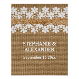 Rustic Lace and Burlap Wedding Personalized Poster