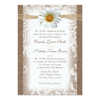 Rustic Lace and Burlap with Daisy like Gazania Card