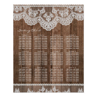 Rustic Lace and Wood Wedding Seating Chart Poster