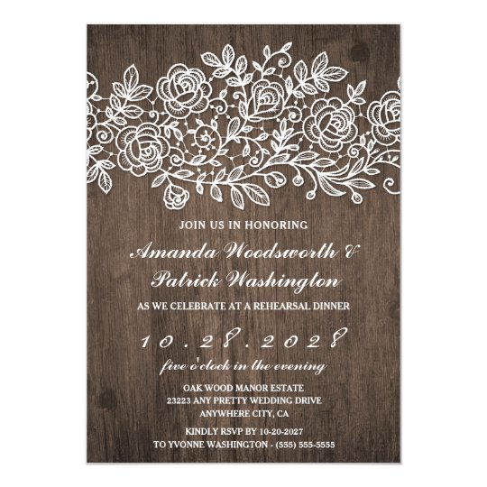 Rustic Lace Barn Wood Rehearsal Dinner Invitations
