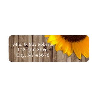 rustic lace barn wood sunflower country wedding return address label