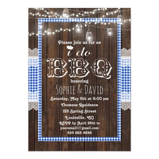 Rustic Lace Blue Gingham Old Wood I DO BBQ Invite