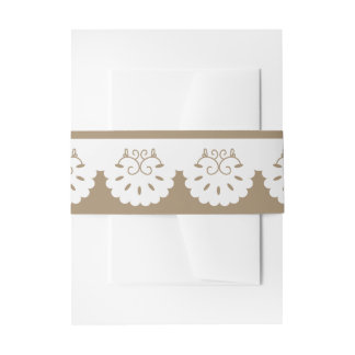 Rustic Lace Brown And White Lacy Wedding Invitation Belly Band