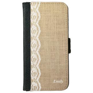 Rustic Lace & Burlap Custom Name iPhone 6 Wallet Case