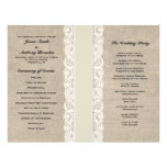 Rustic Lace & Burlap Ivory Ribbon Wedding Program Flyer