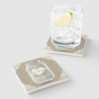 Rustic Lace & Burlap Mason Jar Wedding Stone Beverage Coaster