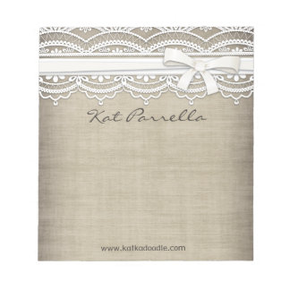 Rustic Lace & Burlap Personalized Notepad