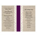 Rustic Lace & Burlap Plum Ribbon Wedding Program Custom Flyer