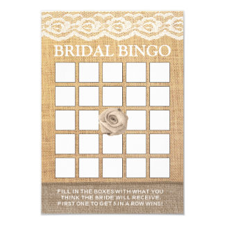 Rustic Lace Burlap Rose Bridal Shower Bingo Cards