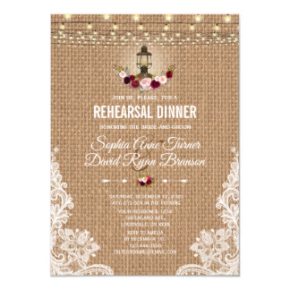Rustic Lace Burlap String Lights Rehearsal  Dinner Card