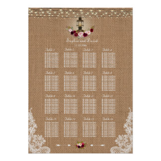 Rustic Lace Burlap String Lights Seating Chart