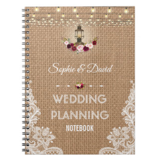 Rustic Lace Burlap String Lights Wedding Planner Notebook