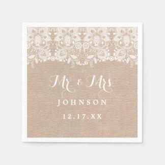 Rustic Lace Burlap Wedding Paper Napkins