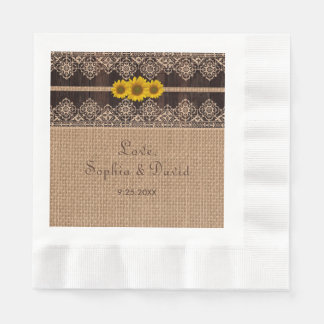 Rustic Lace Burlap Wood Wedding Disposable Napkin