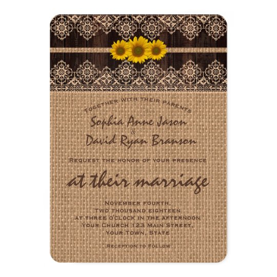 Rustic Lace Burlap Wood Wedding Invitation