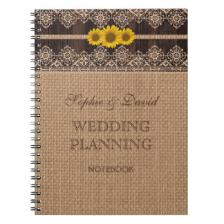 Rustic Lace Burlap Wood Wedding Planner Notebook