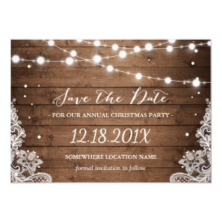 Rustic Lace Christmas Party Save the Date Card
