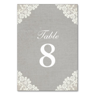 Rustic Lace & Grey Linen Vintage Table Numbers Table Card