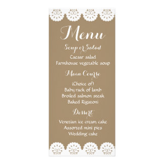 Rustic Lace Menu Brown Lacy Wedding Party